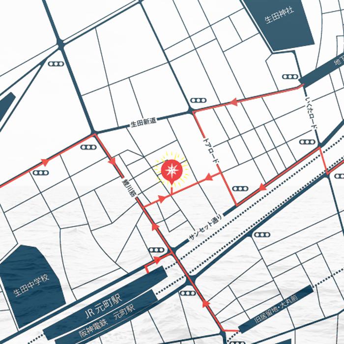 トアウエスト店への地図
